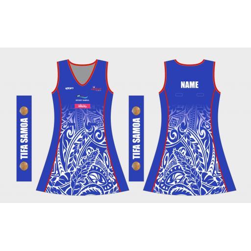 NETBALL SAMOA COMPETITION DRESS 2021 BLUE