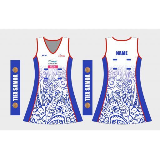 NETBALL SAMOA COMPETITION DRESS 2021 WHITE